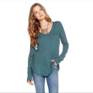 Chaser | Teal waffle-knit top